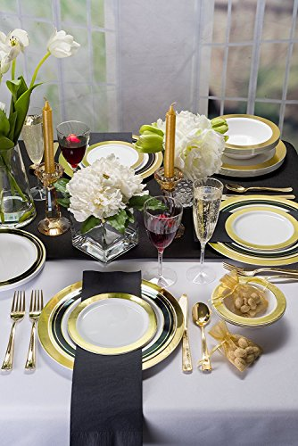 Pre Rollled Cutlery And Napkins Set with Extra Heavy Duty Full Size Polished Gold Cutlery, Fork-Knife-Spoon with White Napkin, Value Pack 60 Count by Lillian Tablesettings (Image #4)
