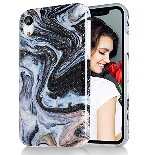 iPhone XR Case,Black Gold Marble,Slim Soft Flexible TPU Marble Pattern Cover for Apple iPhone XR