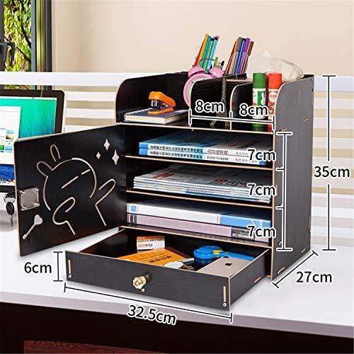 Kangsur Desktop Kosmetik Lagerschrank Büro Werkzeugkasten Hölzern DIY Multifunktional Aufbewahrungskiste H01-7
