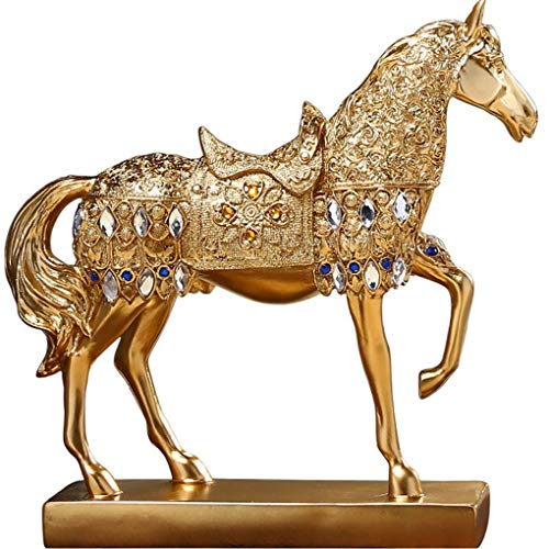 - Golden Walking Horse Sculpture for Wealth Attractive and Unique Statue Figurine Collectible Home Decoration Attract Wealth and Good Luck Feng Shui Decor Best Gift for Famliy and Friend (A1 Gold Horse)
