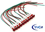 PACK OF 10 YuCo YC-9WRT-23R-220-10 RED LED 9MM MINIATURE INDICATOR PILOT LIGHT 220V AC/DC