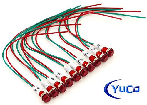 PACK OF 10 YuCo YC-9WRT-23R-120-10 RED LED 9MM MINIATURE INDICATOR PILOT LIGHT 120V AC/DC by Yuco (Image #5)