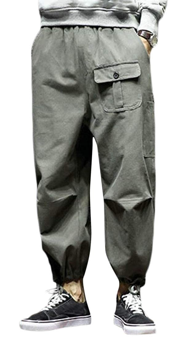 Spirio Men Casual Relaxed Fit Elastic Waist Pure Color Jogging Cargo Pants