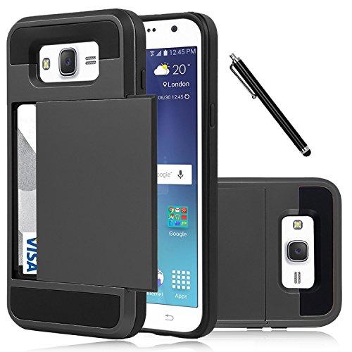 Galaxy J7 Case, EC™ Samsung Galaxy J7 Wallet Case, Flexible Shockproof Rubber Bumper Armor Hard Case Cover with Card Holder Slot for Samsung Galaxy J7 2015 / Samsung SM-J700 (Black)