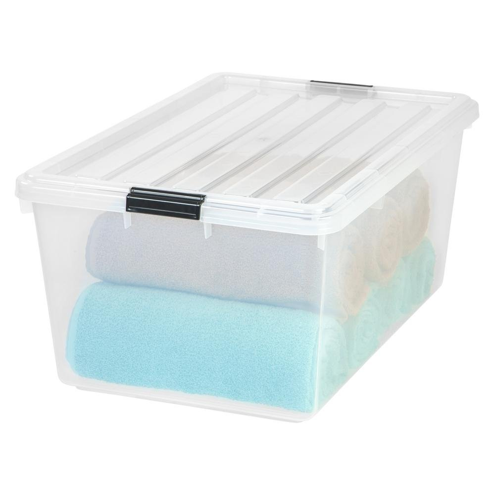 IRIS 68 Qt. Buckle Down Storage Box in Clear