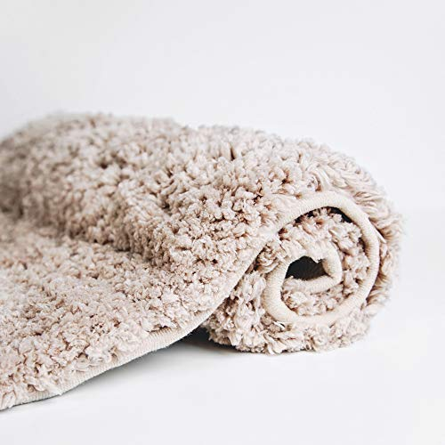 Luxe Plush Bathroom Rugs Bath Shower Mat w Non Slip Microfiber Super Absorbent Rug Alfombras para Baos 19.5 x 31.5 (Brown)