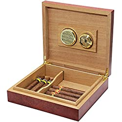 Ehonestbuy Spanish Cedar Cigar Humidor for Husband, Groomsmen Wedding Gift - Large Capacity: 10 - 15 (Brown)