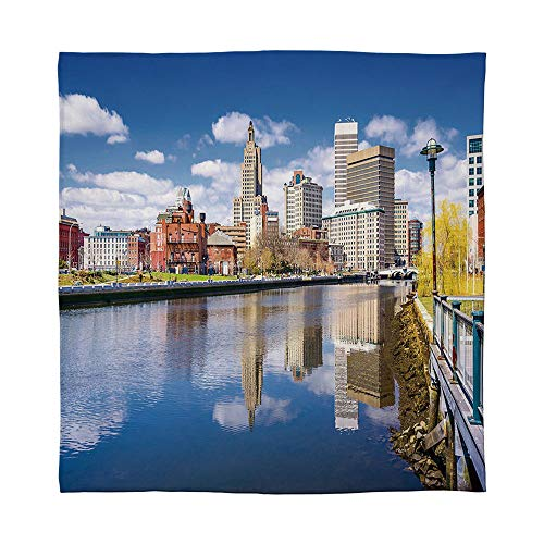 YOLIYANA Lightweight Blanket,United States,for Bed Couch Chair Fall Winter Spring Living Room,Size Throw/Twin/Queen/King,Providence Rhode Island Riverfront Spring Season Water