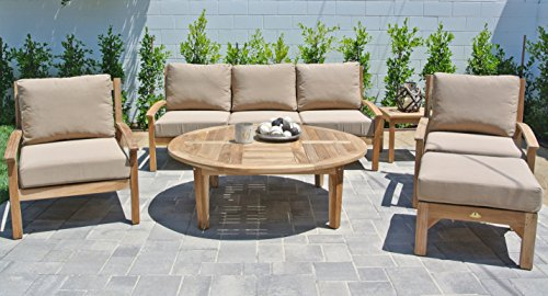 Outdoor Coal Fabric (Willow Creek Designs 6 Piece Huntington Deep Seating Group with 52