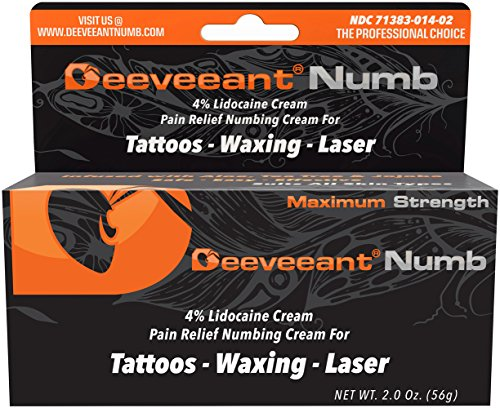 (Deeveeant Lidocaine Numbing Cream Anesthetic (2oz/56g) Topical Pain Relief - Tattoos, Laser, Waxing, Microblading, Microneedling US FDA)