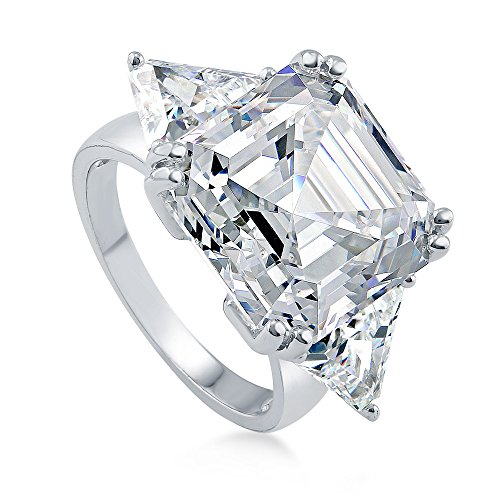(BERRICLE Rhodium Plated Sterling Silver Asscher Cut Cubic Zirconia CZ Statement 3-Stone Anniversary Engagement Ring 16.16 CTW Size 6.5)