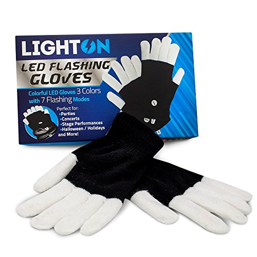 Price comparison product image BEST Rave Gloves - Replaceable Batteries Light Show LED Gloves - Durable Finger light Gloves - White and Black Lighting Gloves with 7 Flashing Modes Perfect for Raves Parties Halloween-1pk