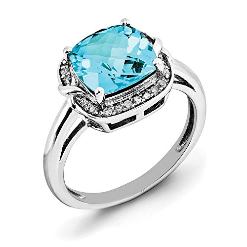 (925 Sterling Silver Diamond Checker Cut Swiss Blue Topaz Band Ring Size 7.00 Gemstone Fine Jewelry Gifts For Women For Her)