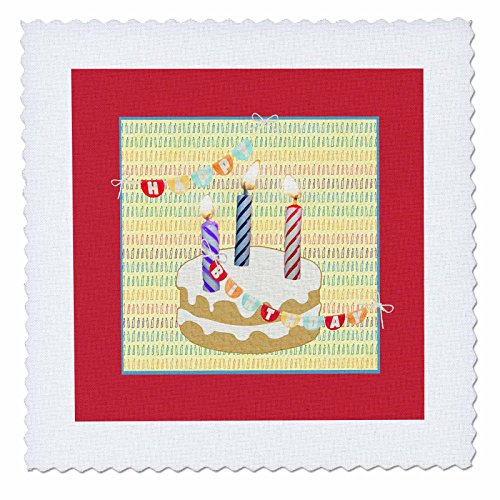 3dRose Beverly Turner Birthday Design - Three Candles on Cak