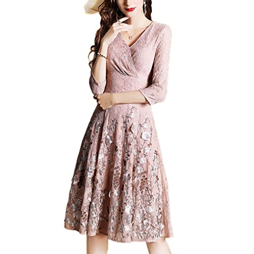 Neck Lace cotyledon Casual V Dresses Women`s Dress Embroidery 4xUHYq