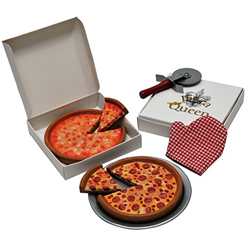 (18 Inch Doll Pizza Night Set. Pepperoni & Cheese Pizzas, Pizza Boxes, Pan, Pizza Cutter & Oven Mitt. Food & Accessory Set Fits American)