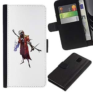 YiPhone /// Tirón de la caja Cartera de cuero con ranuras para tarjetas - Asistente de Goth - Samsung Galaxy Note 3 III