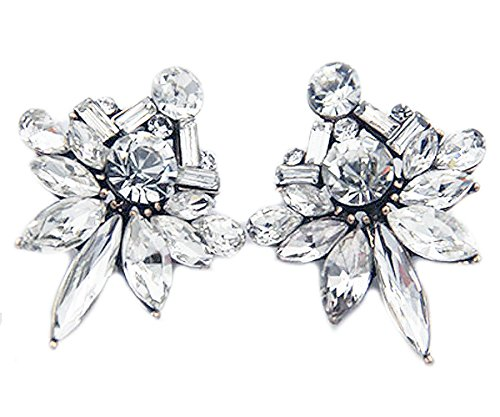 Art Deco Antique Vintage Style Marquise Bridal Wedding Formal Rhinestone Cluster Statement Earrings