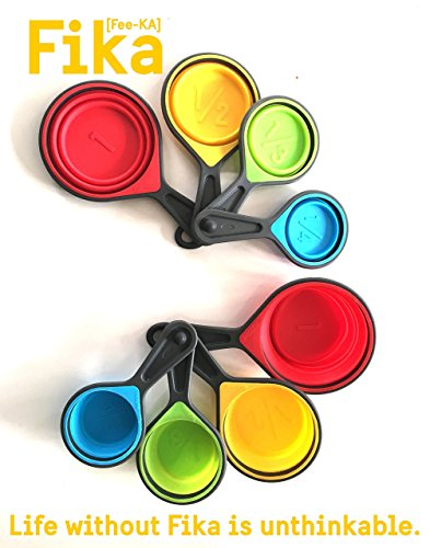 FIKA Collapsible Silicone Measuring Cups - 4 Piece Set Kitchen Utensil Dry or Liquid SALE PERFECT GIFTS