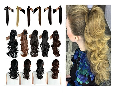 Haironline Claw Ponytail Handy Jaw Pony Tail 3-5 Days Delivery Clip in Hair Extensions One Piece Long Straight Soft (50s Haircuts)