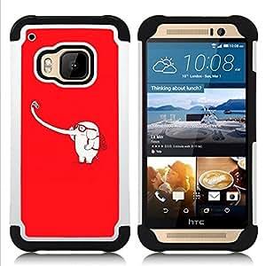 """Pulsar ( Elefante blanco Largo Tronco selfie parodia divertida"""" ) HTC One M9 /M9s / One Hima híbrida Heavy Duty Impact pesado deber de protección a los choques caso Carcasa de parachoques"""
