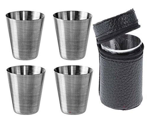 iLuv Four Drinking Travel Cups Set With Leather Case Ideal With Flask