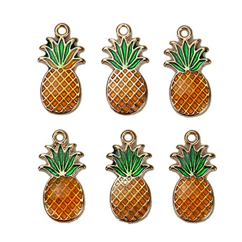 - WSSROGY Pack of 10 Enamel Pineapple Charm Bead Fruit Jewelry Making Pendants Cute Beads Set for Necklace Bracelet Crafting