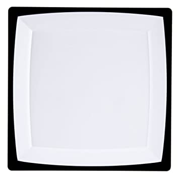Milan Tuxedo 9-1/2 inch Square Plastic Plates White Plates with a Black  sc 1 st  Amazon.com : black and white plastic plates - pezcame.com