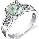 14K White Gold Green Amethyst Diamond Cathedral Ring 1.75 Carat