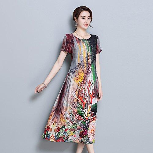 ZHUDJ Las Mujeres De Gran Tamaño _ Imprimir Vestido De Seda Camiseta Mujer De Mediana Edad Delgado Color