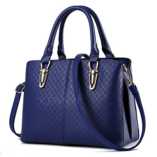 Goodpro Women Handbag Women Bag Shoulder Bag Zip Closure Tote Vintage Bag PU Leather GP119 Deep Blue