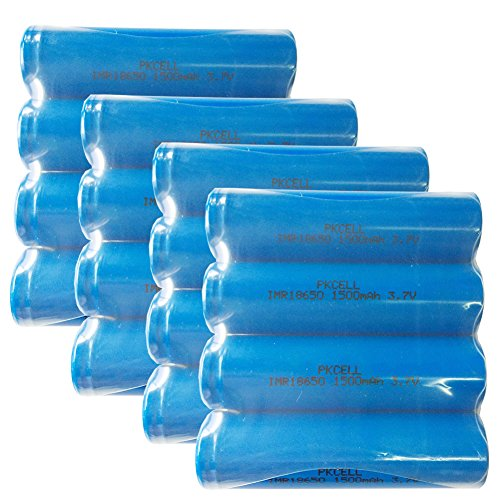 PKCELL IMR18650 1500mAh 3.7V Rechargeable Flat Top High Drain Batteries 20Pcs by PK Cell