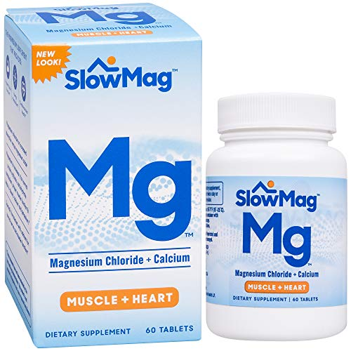 SlowMag Mg Muscle + Heart Magnesium Chloride with Calcium Supplement, 60 Count ()