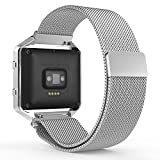 Fitbit Blaze Watch Band, MoKo Milanese Loop Mesh Stainless Steel Bracelet Smart Watch Strap for Fitbit Blaze Smart Fitness Watch with Unique Magnet Lock, No Buckle Needed, Frame NOT Included - SILVER