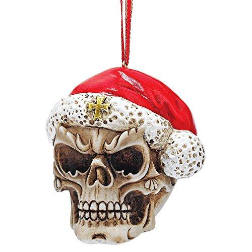 Tree Claus Ornament Christmas Santa (Design Toscano Christmas Tree Ornament - Skelly Santa Claus with Santa Hat Skeleton Figure Holiday Ornaments: Set of Three - Christmas Decorations)