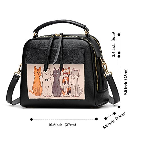 Top Handle Women Pu Bags Black Tote Cat Purse Satchel for 1 Leather Handbags Cute Shoulder wEXgFIpq