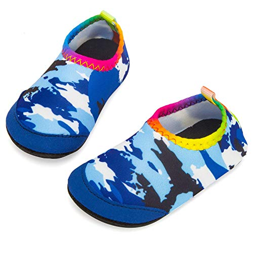 - Apolter Baby Boys and Girls Swim Water Shoes Barefoot Aqua Socks Non-Slip for Beach Pool, Camouflage/Blue, 7.5-8.5 Toddler