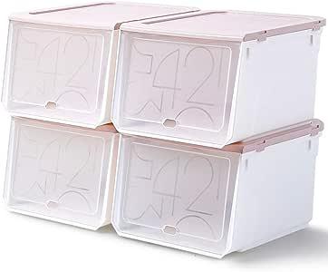 FLM Cajas de Almacenaje Plegable - Juego de 4 Cajas de Zapatos Transparente Apilables para Zapatos hasta la Talla 46,33 x 29.5 x 21 cm: Amazon.es: Bricolaje y herramientas