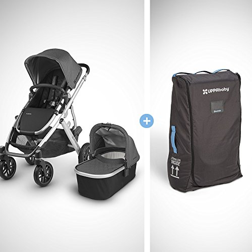 2018 UPPABaby VISTA Stroller - Jordan (Charcoal Melange/Silver/Black Leather) + VISTA Travel Bag by UPPAbaby