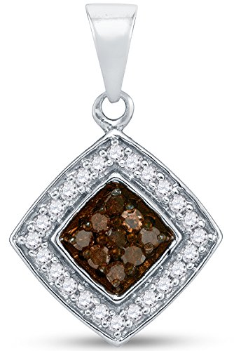 White Gold Diamond Square Pendant - Sonia Jewels 10K White Gold Channel Set Chocolate Brown & White Princess Square Halo Diamond Pendant Charm (1/4 cttw.)