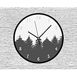 47BuyZHJX Decorative 12 Inchs Round Wall Clock-The Panorama of a Valley and a Misty Forest of Pine Trees,Silent Non Ticking Quartz Battery Operated Black Wall Clock.