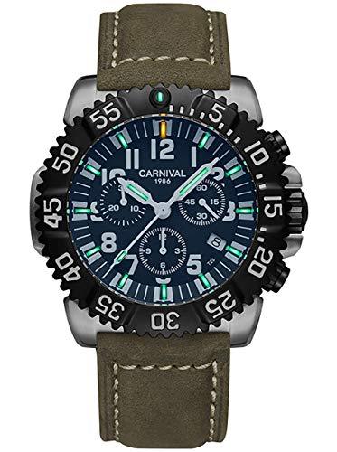Mens Luminous Tritium Chronograph Military Watch Waterproof Date Rotatable Bezel Quartz Analog Sports Black Watches (Olive Green Leather Strap)