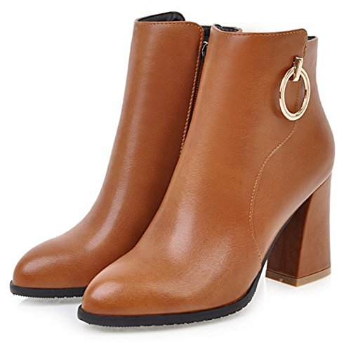 Women's Simple Boot Office Ankle Pointed Zipper Brown Side SHOWHOW Shoes Toe Rw1dAqRa