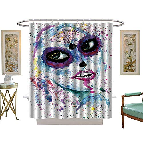 luvoluxhome Shower Curtains with Shower Hooks Halloween Girl with Sugar Skull Makeup Paint Satin Fabric Sets Bathroom W48 x L72