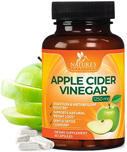 Extra Strength Apple Cider Vinegar Pills (1250mg) – All Natural for Weight Loss, Detox, Digestion & Metabolism Booster – Pure Gentle Cleanser, Premium Non-GMO by Natures Nutrition - 60 Capsules