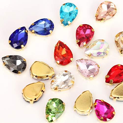 - BLINGINBOX 20PCS Tear Drop Mixed Ccolor Glass Sew On Rhinestones with Gold Claw Drop Crystal Sew On Claw Rhinestone Glitter Stones(18x25mm)