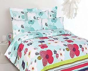 Sarah Home-living Blue King Size (250x270) Prime Rose Bed Sheet