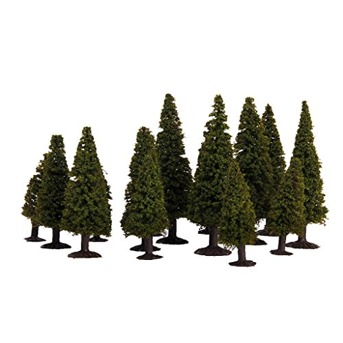 15pcs Green Scenery Landscape Model Cedar Trees with Box