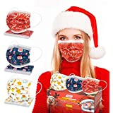 Disposable Face Masks, Christmas Face Mask for Adults with Breathable 3 Layer Protection Christmas Masks with Adjustable…