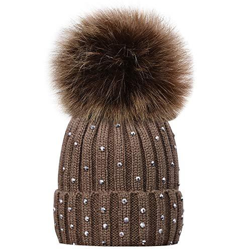 Kids Winter Knitted Hats, Newborns Toddlers Infants Baby Boys Girls Beanie Hat with Shiny Diamonds, Faux Fur Pom Pom Cap for Kids ()